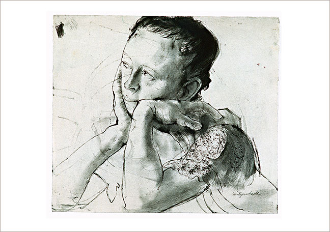 Head of a Woman Leaning on her Elbows