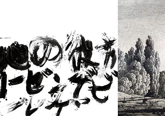 Abbildung links: Thomas Baumhekel, Blick über die Wiesen zum Riesengebirge. Abbildung rechts: Caspar David Friedrich, Landschaft mit hölzerner Brücke, Radierung