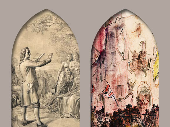 Illustration, linke Seite: Theobald von Oer, Der Weimarer Musenhof. Rechte Seite: Josef Hegenbarth, zu Schiller: Das Lied von der Glocke